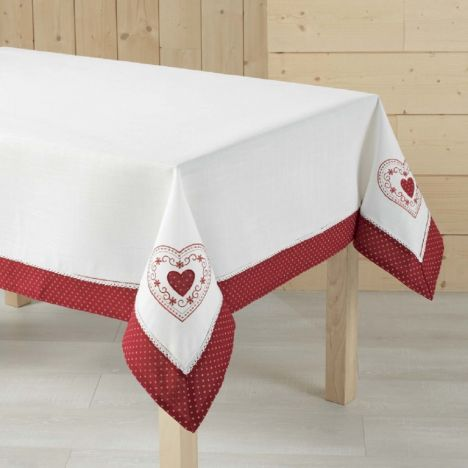 Monlisa Heart Embroidered Tablecloth - Red