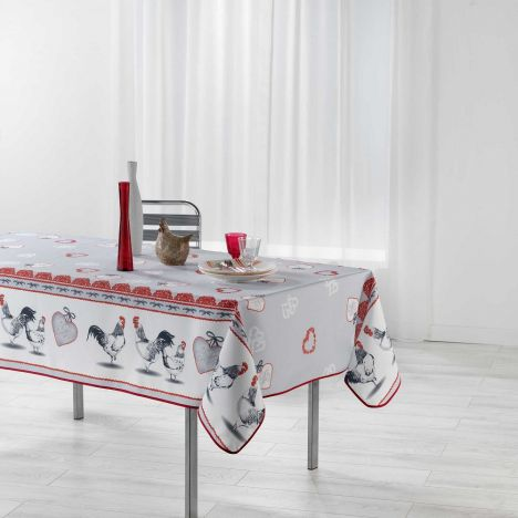 Gallinou Printed Tablecloth - Red & Grey