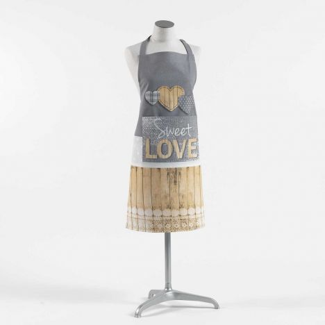 Hearty Printed Cotton Apron with Pocket - Grey & Yellow