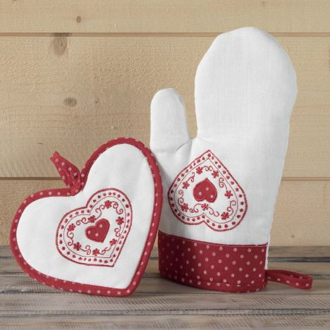 Monlisa Heart Embroidered Cotton Kitchen Oven Glove & Pot Holder - Red