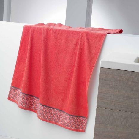 Adeline Jacquard 100% Cotton 450GSM Towel - Coral Orange: Face Glove