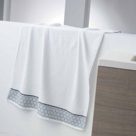 Adeline Jacquard 100% Cotton 450GSM Towel - White: Face Glove