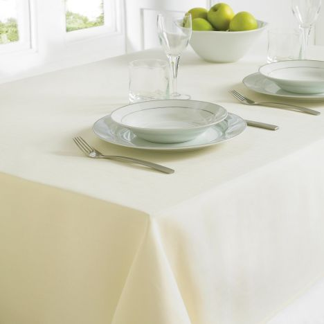 Plain Linen Look Easy Care Tablecloth - Cream
