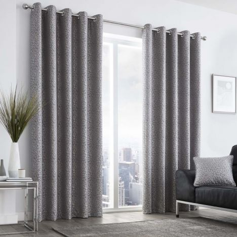 Leopard Print Fully Lined Eyelet Curtains - Graphite Grey