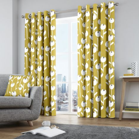 Alabar Floral Fully Lined Eyelet Curtains - Ochre Yellow