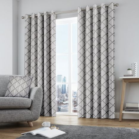 Brooklyn Geometric Fully Lined Eyelet Curtains - Grey