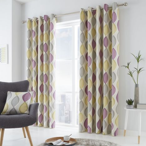 Lennox Ogee Pattern Fully Lined Eyelet Curtains - Heather Purple
