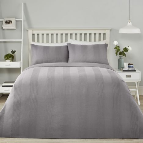Waffle Stripe Duvet Cover Set - Charcoal Grey