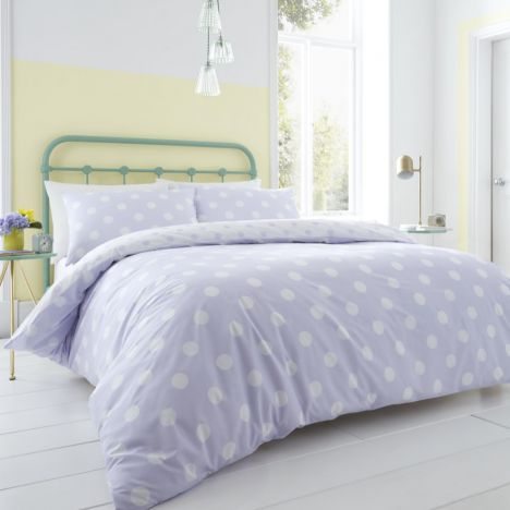 Catherine Lansfield Polka Dot Duvet Cover Set - Lilac Purple
