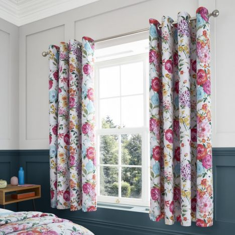 Catherine Lansfield Salisbury Floral Fully Lined Black Out Curtains - Multi