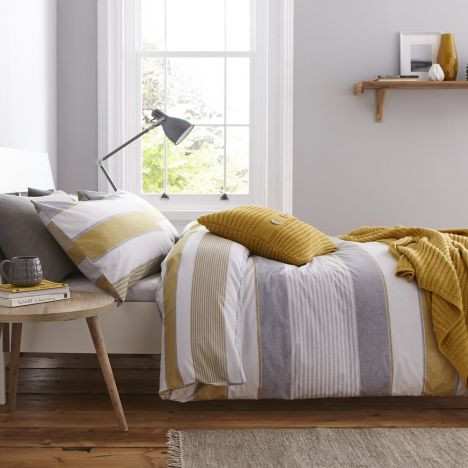 Catherine Lansfield Newquay Stripe Duvet Cover Set - Ochre Yellow