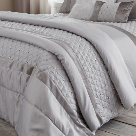 Catherine Lansfield Sequin Cluster Quilted Bedspread - Silver Grey