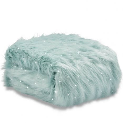 Catherine Lansfield Metallic Fur Throw Duck Egg Blue