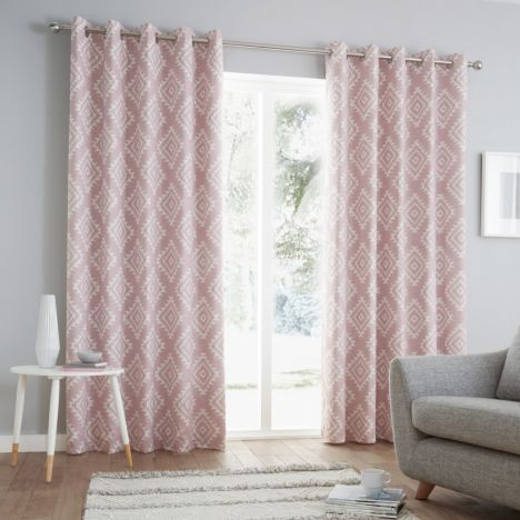 Catherine Lansfield Aztec Fully Lined Eyelet Curtains - Blush Pink