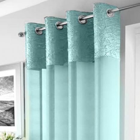 Elegant Madeira Ring Top Voile Curtain Panel - Duck Egg Blue
