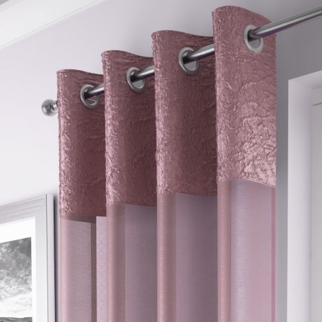 Elegant Madeira Ring Top Voile Curtain Panel - Blush Pink