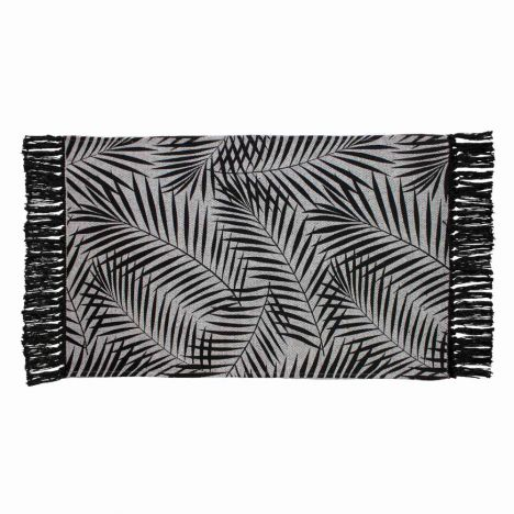 Printed Cotton Tassled Makara Leaves Rug - Black