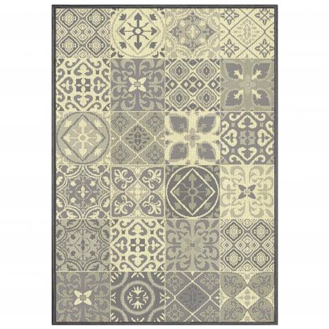 Vigo Woven Geometric Checked Rug - Natural