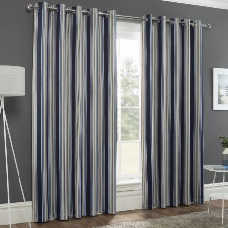 Striped Eyelet Ring Top Thermal Blockout Curtains - Navy Blue