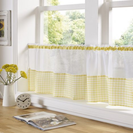 Gingham Check Cafe Net Curtain - Yellow