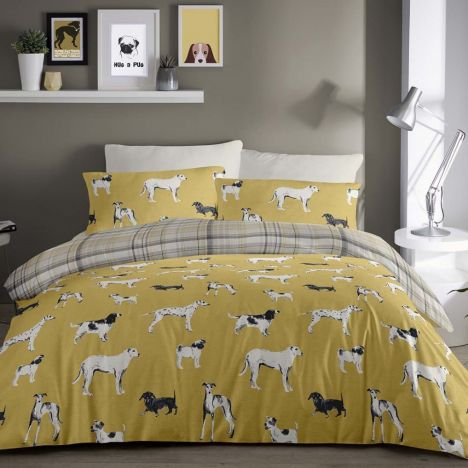 Dogs Checked Reversible Duvet Cover Set - Ochre Yellow