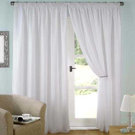 Luxury White Lined Voile Curtains
