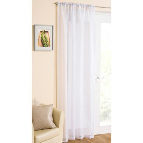 White Glitter Voile Curtain Panel