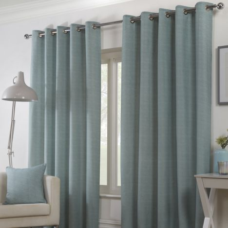 Plain Belvedere Eyelet Ring Top Fully Lined Curtains - Duck Egg Blue