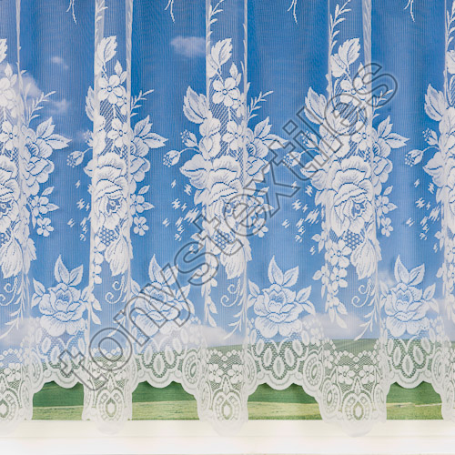 "Roses White Net Curtain - 3576 : 36"" Drop"