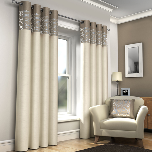 Skye Ring Top Lined Eyelet Curtains Cream Tony S