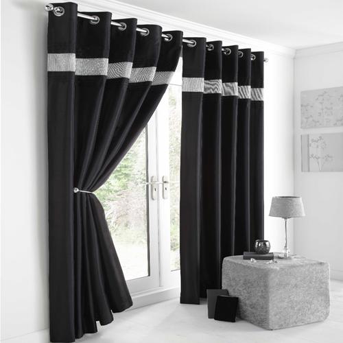 Diamante Eyelet Lined Curtains Black Silver Tony S
