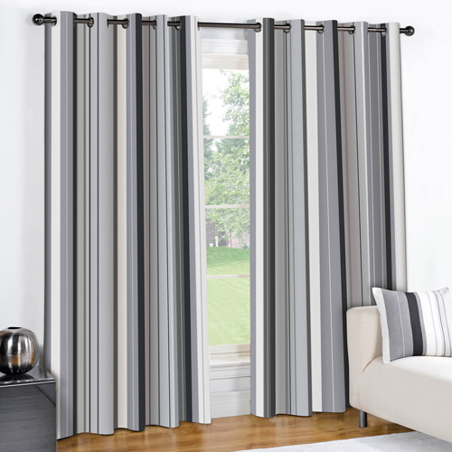 Striped Eyelet Lined Curtains Black Grey Tony 39 S Textiles Tonys Textiles