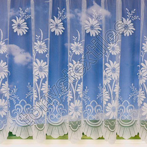 "Daisy Patterned White Net Curtain: 36"" Drop"