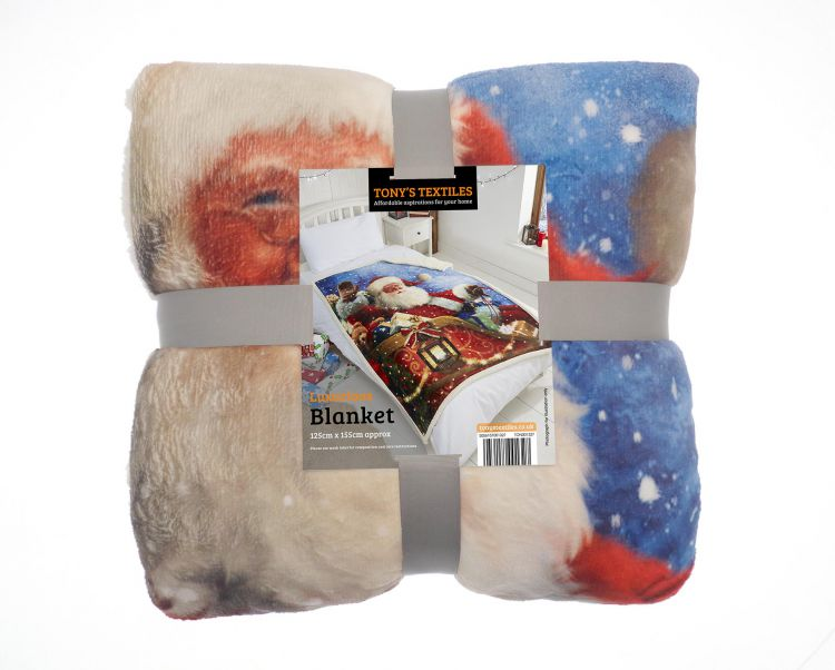 Father Christmas Fleece Blanket Throw Tonys Textiles