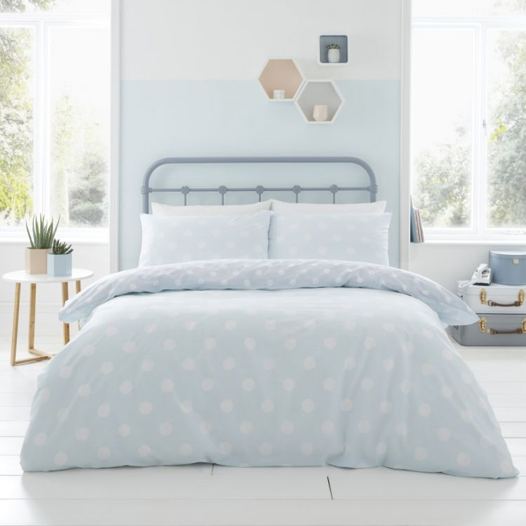 Catherine Lansfield Polka Dot Duvet Cover Set Duck
