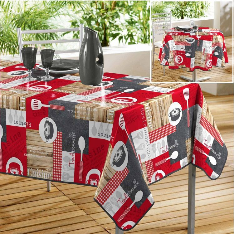 Cuisine Bistrot Printed Pvc Tablecloth Red Tonys