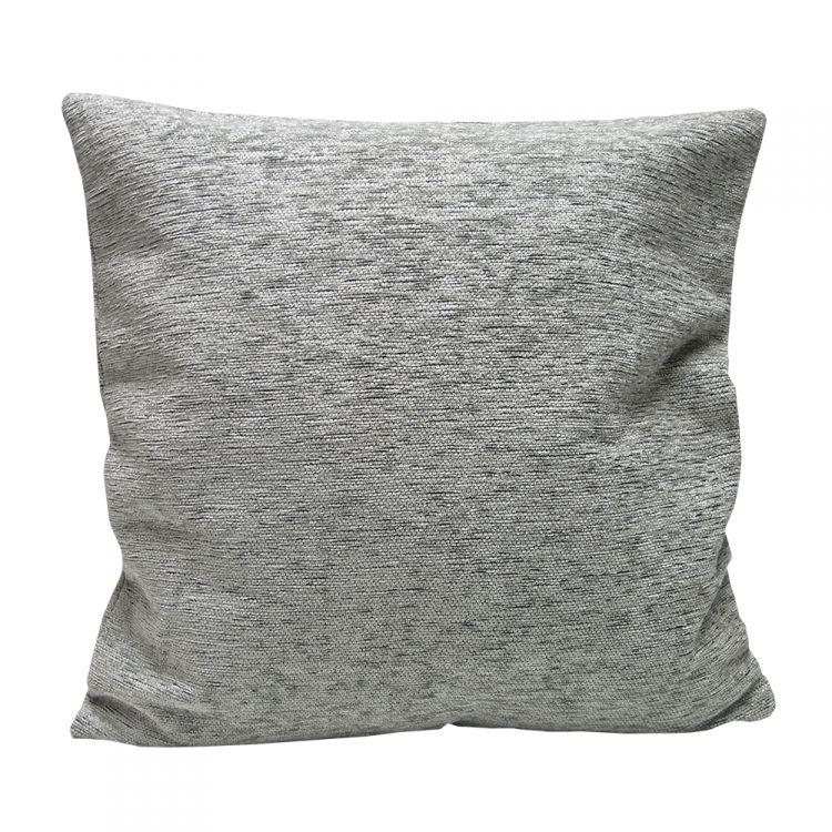 Plain Chenille Cushion Cover 18 Inch Silver Tonys Textiles