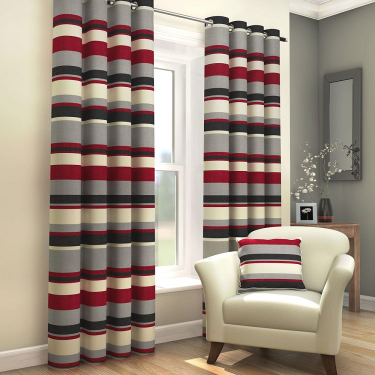 Black Red Grey Striped Lined Eyelet Curtains Hover To Zoom