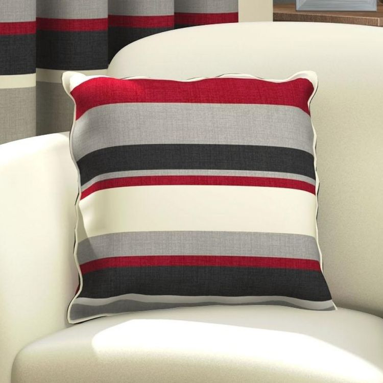Red Amp Black Striped Cushion Cover Tonys Textiles