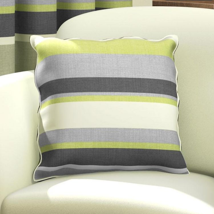 Green Natural Amp Grey Striped Cushion Cover Tonys Textiles