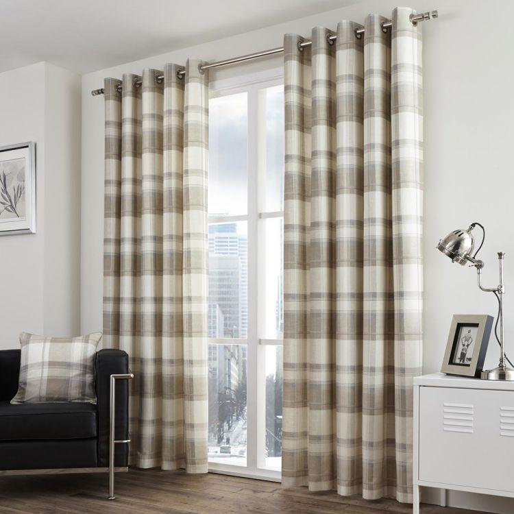 Check Eyelet Striped Curtains Cream Tony S