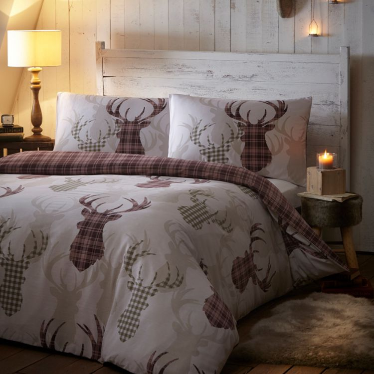 Tartan Animal Stag Quilt Duvet Cover Natural