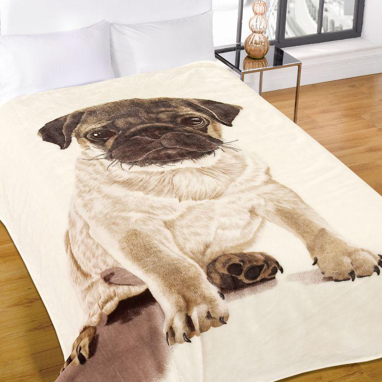 Pug Mink Fleece Blanket Throw Tonys Textiles