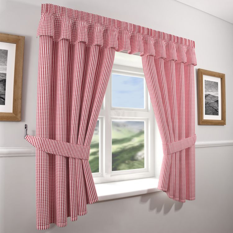 Country Red Kitchen Curtains: Gingham Check Beige Curtains