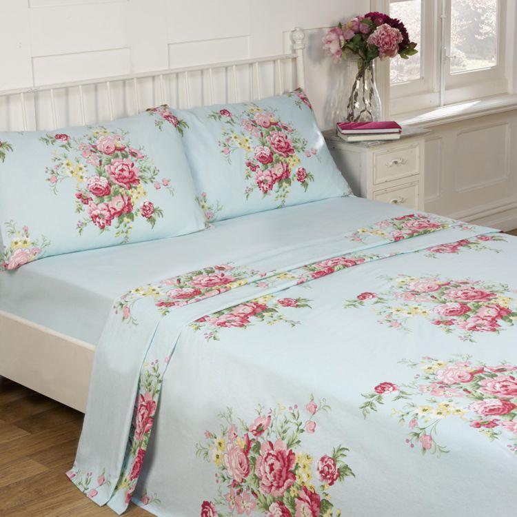 Kate Floral Blue 100% Cotton Thermal Flannelette Sheet Set