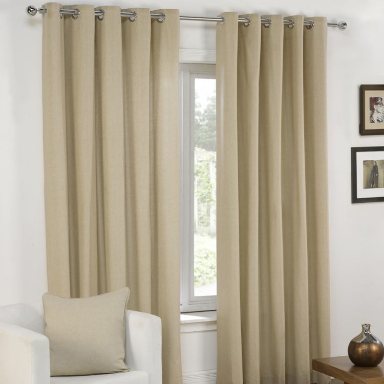 Plain Cream Lined Eyelet Curtains Tony S