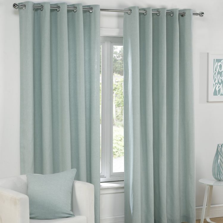 Plain Duck Egg Blue Lined Eyelet Curtains Tony S