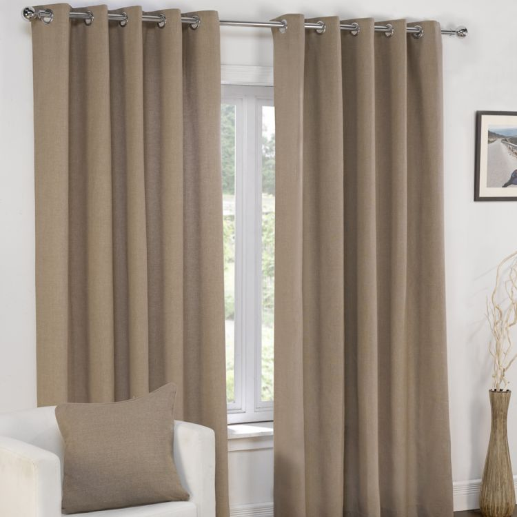 Plain Belmont Taupe Mocha Eyelet Ring Top Fully Lined Curtains