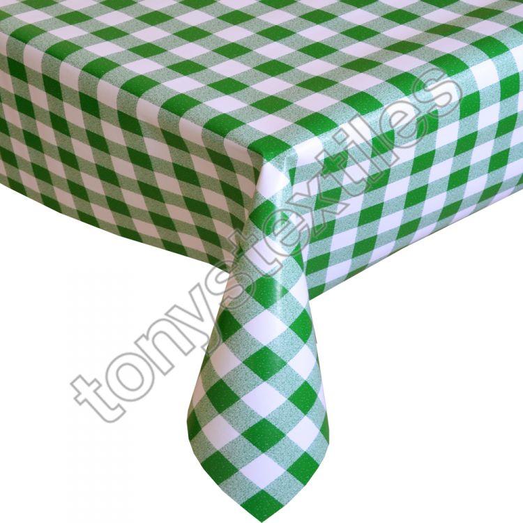 Gingham Check Green Plastic Vinyl Tablecloth
