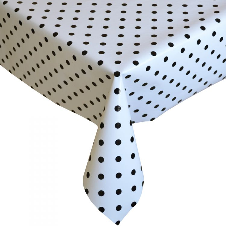 Polkadot White Black Plastic Vinyl Tablecloth